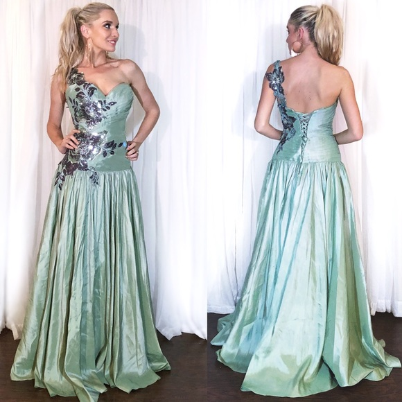 Xcite Prom Dresses | Green Xcite One Shoulder Sequin Aline Prom ...